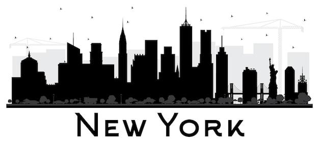 New york usa city skyline czarno-biała sylwetka. ilustracja wektorowa. prosta koncepcja płaska do prezentacji turystyki, banera, afiszu lub strony internetowej. koncepcja podróży biznesowych. pejzaż miejski z zabytkami.