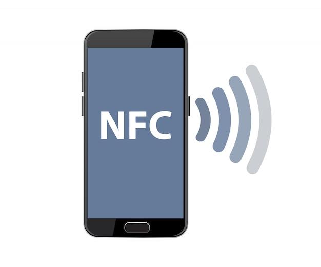 Nfc płatności smartphone wektor.