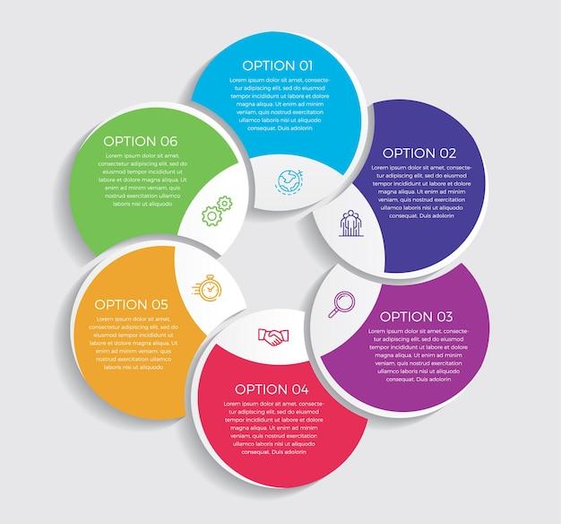 Nfographic design i marketingowe ikony. koncepcja biznesowa z 6 opcjami, krokami lub procesami. -