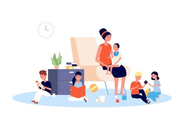 Niania z dziećmi. opiekunka do dzieci, niemowlę niemowlę i bawiące się dzieci. duża rodzina lub macierzyństwo, matka z małym dzieckiem. ilustracja do domu przedszkola. niemowlę, dziecko i matka, dzieci do opieki nad dziećmi