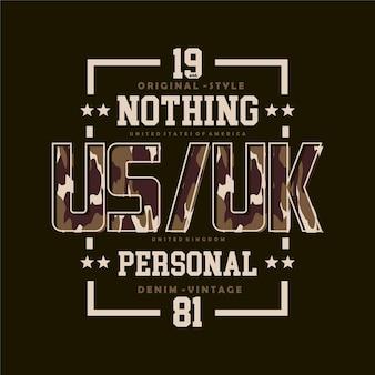 Nic osobistego slogan ramki tekstowej graficzny motyw wojskowy t shirt