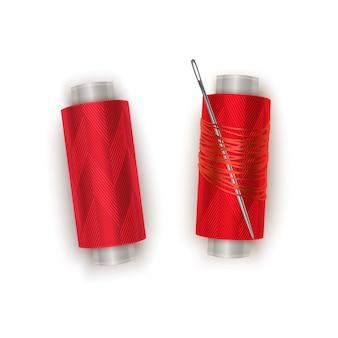 Nić w kolorze czerwonym, zestaw szpulek do nici. kolorowa plastikowa szpulka z realistyczną igłą. ilustracja