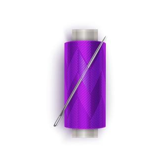 Nić w kolorze fioletowym, zestaw szpulek do nici. kolorowa plastikowa szpulka. ilustracja
