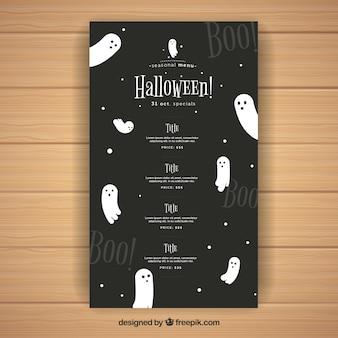 Nice halloween menu z duchami