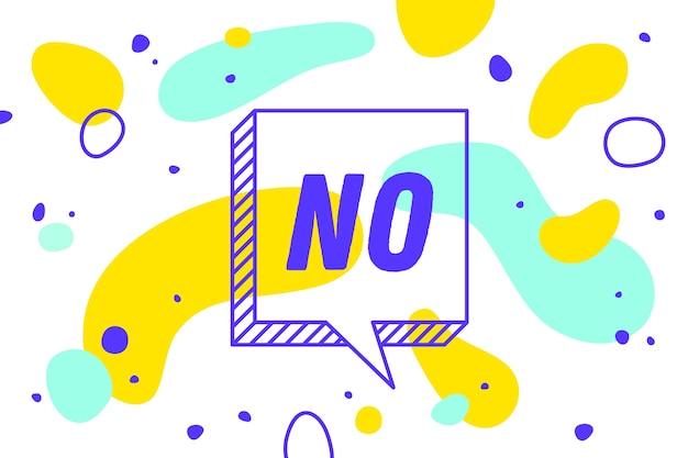 Nie. baner, dymek, koncepcja plakatu i naklejki, styl geometryczny z tekstem nr. ikona balon z cytatem wiadomość nr na baner, plakat. wybuch wybuchu.