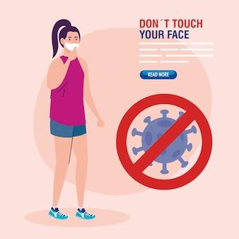 Nie dotykaj twarzy, kobieta nosząca maskę i cząstka koronawirusa w sygnale zabroniona, unikaj dotykania twarzy, zapobieganie koronawirusowi covid19