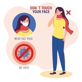 Nie dotykaj twarzy, kobieta używająca szalika z cząsteczką covid19 na sygnał zabroniony