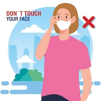Nie dotykaj twarzy, kobieto używająca maseczki