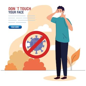 Nie dotykaj twarzy, mężczyzna noszący maskę na zewnątrz, unikaj dotykania twarzy, zapobieganie koronawirusowi covid19