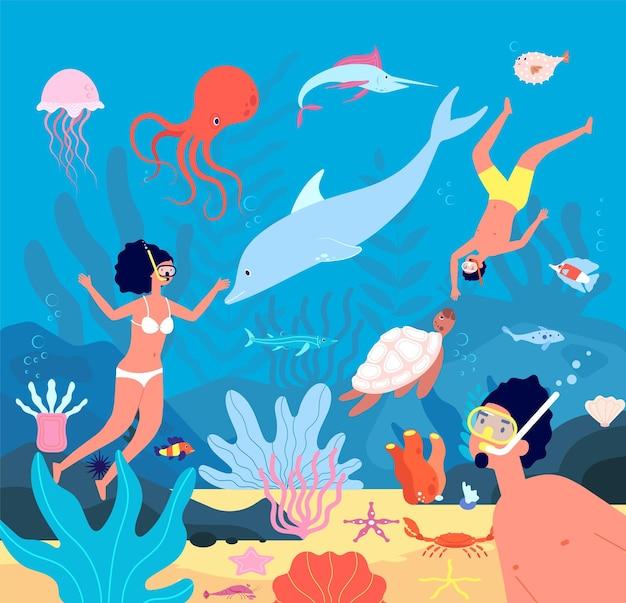 Nie jeden. pływacy podwodni, fajka rekreacyjna z akwalungiem. nurkowanie w błękitnym morzu z rybami, koralowcami. ilustracja podwodny wypoczynek, aktywność pływaka