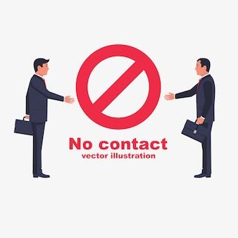 Nie kontaktować się bez uścisku dłoni. czerwony znak zakazu.