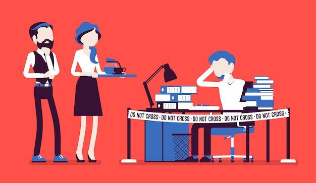 Nie krzyżuj taśmy w pobliżu biurka ciężko pracującego menedżera. wyczerpanie zbyt dużą ilością pracy, znużenie zestresowane terminem, pracownik w napięciu emocjonalnym, napięcie. ilustracja z postaciami bez twarzy