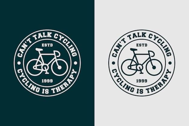 Nie mogę rozmawiać na rowerze to terapia cytat slogan vintage stary styl rower jazda na rowerze projekt koszulki