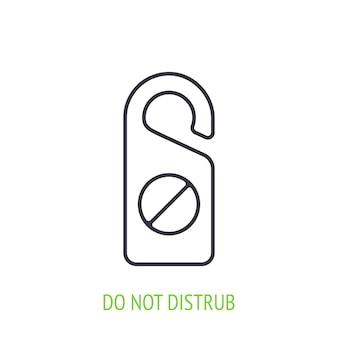Nie przeszkadzać ikona konturu znaku ilustracja wektorowa znak drzwi hotelu symbol hotelu i turystyki