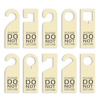 Nie Przeszkadzać Zestaw Wieszaków Na Drzwi. Premium Wektorów
