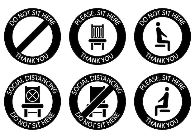 Nie siedź tutaj zakazane ikony dla miejsca bezpieczny dystans społeczny podczas siedzenia na publicznym krześle