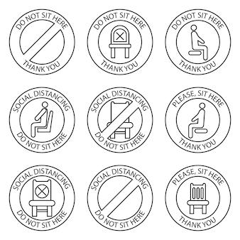 Nie siedź, znaki. zabronione ikony na miejsce. bezpieczny dystans społeczny siedząc na krześle publicznym, obrysuj ikony. zasada blokady. zachowaj dystans, gdy siedzisz. zakazane krzesło. wektor