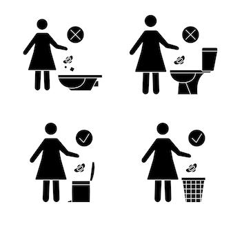 Nie śmieć w toalecie toaleta bez śmieci kobiety wyrzucają podpaski w toalecie