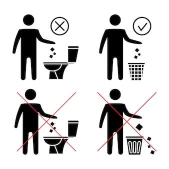 Nie śmieć w toalecie toaleta bez śmieci utrzymywanie czystości nie spuszczaj wody zakazana ikona