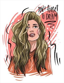 Nie zapomnij o sloganie dream z piękną młodą kobietą