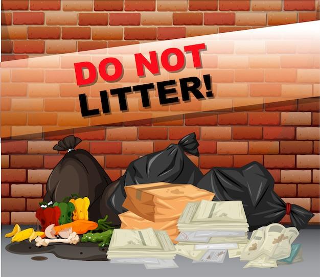 Nie znak śmieci i wiele śmieci