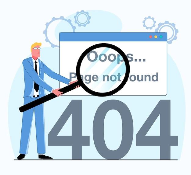 Nie znaleziono błędu 404 biznesmen trzyma lupę, która pokazała błąd 404