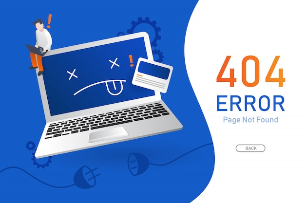 Nie znaleziono strony błędu 404 wektor z szablonem graficznym komputera lub notebooka dla witryny