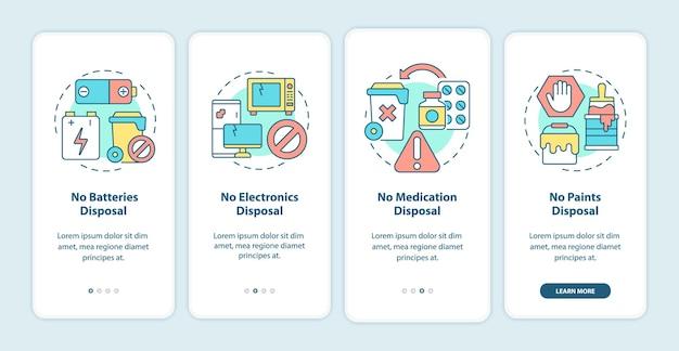 Nieakceptowany ekran strony aplikacji mobilnej wprowadzający śmieci. nie wyrzucaj materiałów odpadowych przewodnik 4 kroki graficzne instrukcje z koncepcjami. szablon wektorowy ui, ux, gui z liniowymi kolorowymi ilustracjami