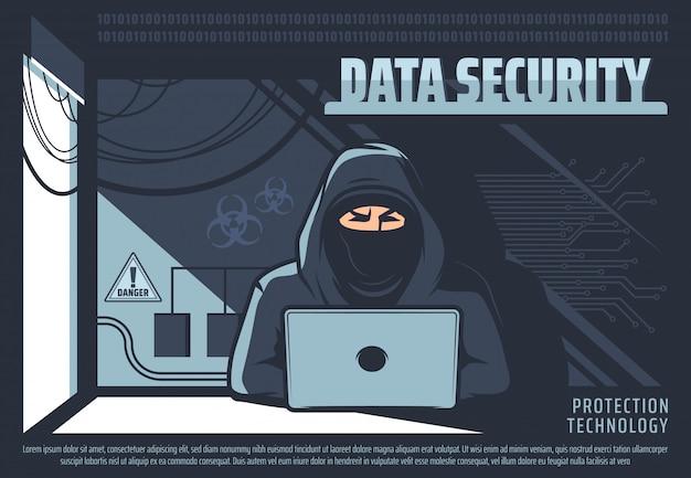 Nieautoryzowany dostęp do danych, haker z komputerem