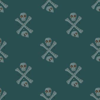 Niebezpieczeństwo bezszwowe doodle wzór z prostych sihouettes czaszek i kości. szary pirat ornament na ciemnym turkusowym tle. ilustracja wektorowa na sezonowe wydruki tekstylne, tkaniny