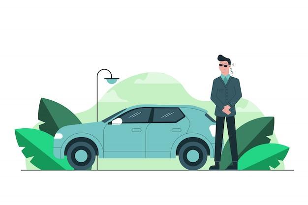 Niebezpieczeństwo, biznes, bezpieczeństwo, koncepcja pracy. młody poważny mężczyzna ochroniarz facet stojący w pobliżu samochodu i słuchanie wiadomości ze słuchawką bezpieczeństwa. ochrona sław polityków okupacji.