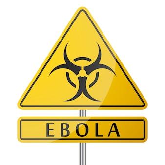 Niebezpieczeństwo choroby ebola żółty znak