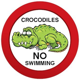 Niebezpieczeństwo krokodyle nie pływanie znak