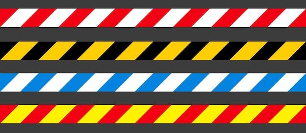Niebezpieczeństwo, ostrożność i ostrzegawcze taśmy bezszwowe. czarny, żółty, czerwony i biały pasek policyjny. ilustracja wektorowa przestępczości.