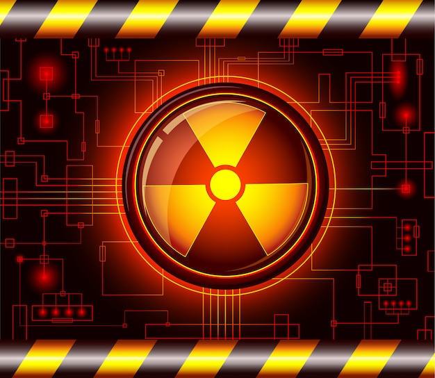 Niebezpieczeństwo przycisk ze znakiem promieniowania