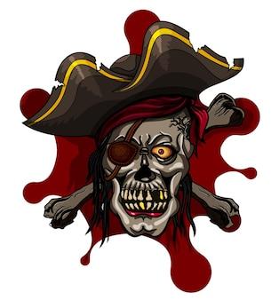 Niebezpieczna czaszka pirata w chustce i piszczelach do projektu tatuażu lub koszulki