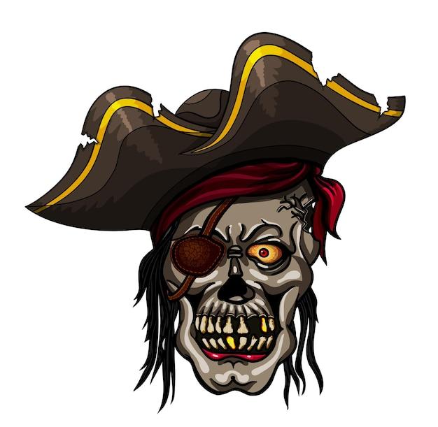 Niebezpieczna czaszka pirata w chustce na projekt tatuażu lub koszulki