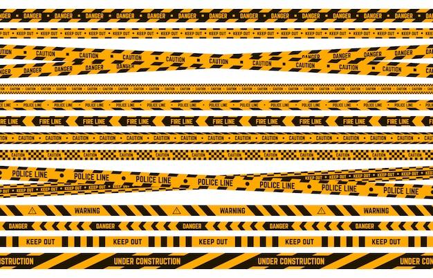 Niebezpieczna taśma policyjna. uwaga żółta i czarna taśma, linia w paski na obwodzie przestępczym, zestaw ilustracji granic ostrzegawczych. pasek bezpieczeństwa, strefa kryminalna, zakazana taśma