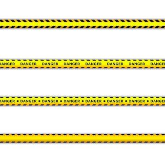 Niebezpieczne taśmy. taśmy ostrzegawcze. linia policyjna i nie przekraczaj. taśma barykadowa.
