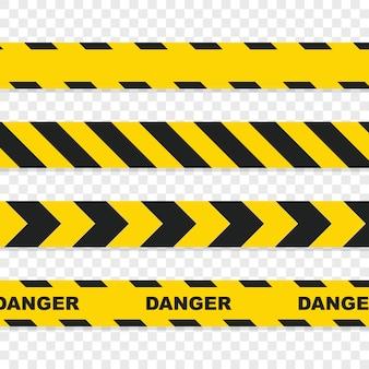 Niebezpieczne taśmy ustawione na przezroczystym tle