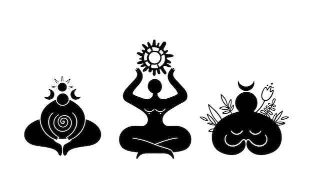 Niebiańska bogini cliparts wiccan kobieta sylwetka symbol żeński księżyc i słońce wektor