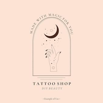 Niebiańska duchowa alchemia ezoteryczny mistyczny magiczny talizman z ręką kobiety, księżycem, gwiazdami świętej geometrii tatuaż logo szablon okultyzmu obiektu. wektor ilustracja linia sztuki czarny styl konturu