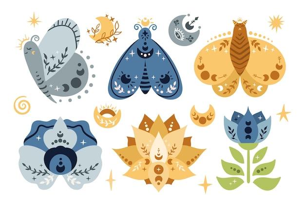 Niebiański motyl lub ćma, kwiaty i księżyc na białym tle dzieci boho clipart