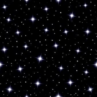 Niebiańskie bezszwowe tło z błyszczącymi gwiazdami błyszczącymi na ciemnym niebie w nocy