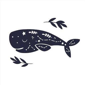 Niebiańskie zwierzęta wieloryb słodkie dziecko wieloryb niebiański magiczny wieloryb