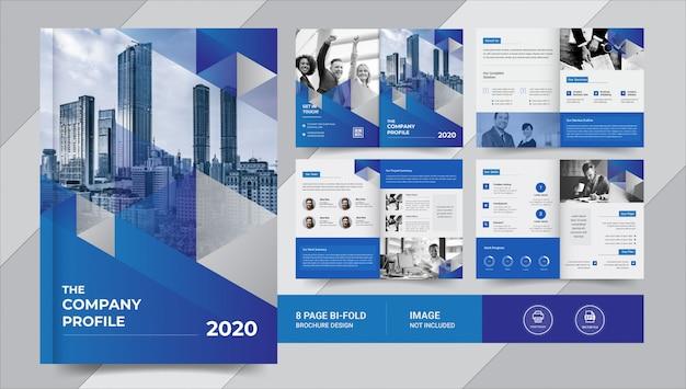 Niebieska 8-stronicowa broszura biznesowa