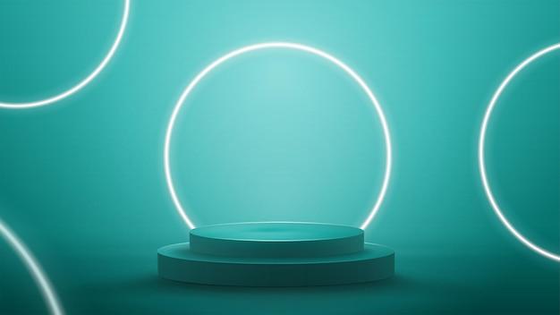 Niebieska abstrakcyjna scena z neonowymi białymi pierścieniami. puste podium z białymi neonowymi pierścieniami na tle.