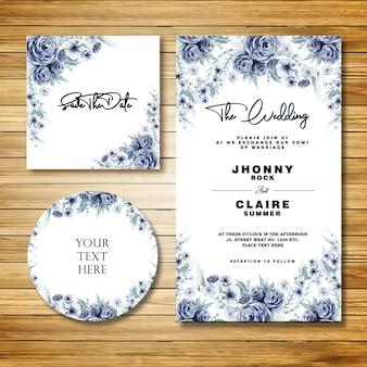 Niebieska akwarela klasyczna karta zaproszenie na ślub