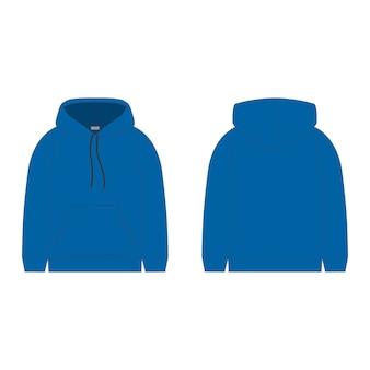 Niebieska bluza z kapturem. szkic techniczny kaptur dla mężczyzn. projekt techniczny.