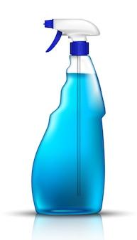 Niebieska butelka z płynem do mycia szyb. ikona ilustracja na białym tle.
